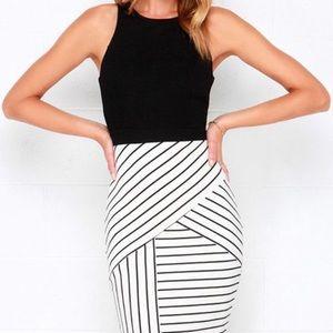 Lulu's black and white striped bodycon dress